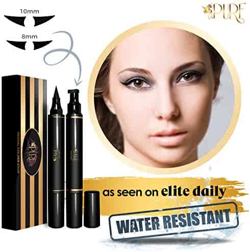 LA PURE Waterproof Eyeliner Stamp - 2 Wingliner Black Make Up Pens, Vamp Style Wing, Smudgeproof & Sweatproof, Perfect Cat Eye Look, Winged Long Lasting Liquid Eye Liner Pen, Eyeshadow, No Dipping