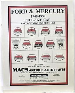 Macs Antique Auto Parts Ford Mercury 1949 1959 Parts Catalog