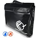 "Currency Catcher Fireproof Document Bag – Large 15""x11""x3"" Fire & Water Resistant Bag – Protect your Documents, Money, Jewelry, and Valuables"