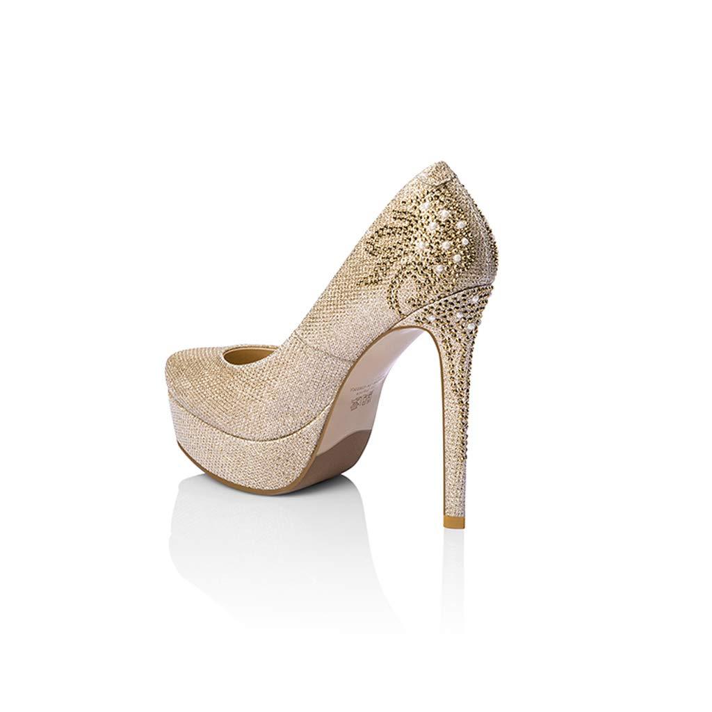 Cena Nuevo Oro Zapatos de tacón alto para mujeres mujeres mujeres Estilete Plataforma impermeable Tacones altos Rhinestone Zapatos de boda Zapatos de mujer Zapatos de cristal Zapatos de baile Zapatos de tacón alto 2c4788