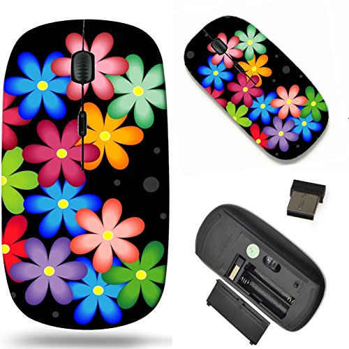Mouse Flower (MSD Wireless Mouse Travel 2.4G Wireless Mice with USB Receiver, Noiseless and Silent Click with 1000 DPI for notebook, pc, laptop, computer, mac book design 24115395 bright background with flowers for)
