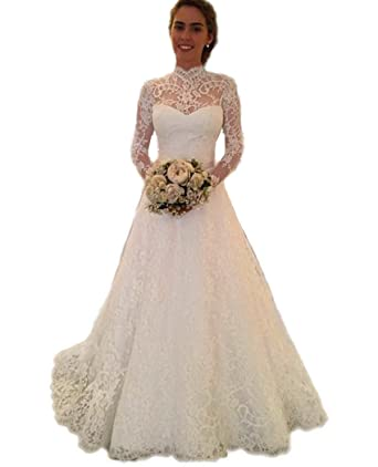 55402441ddb QiJunGe Romantic High Neck Long Sleeve Lace Wedding Gowns Backless Bride  Dress Ivory US 2