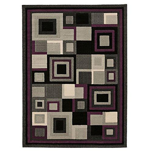 Black//Purple 160 x 220 Cm Think Rugs Hudson 3222 Rug