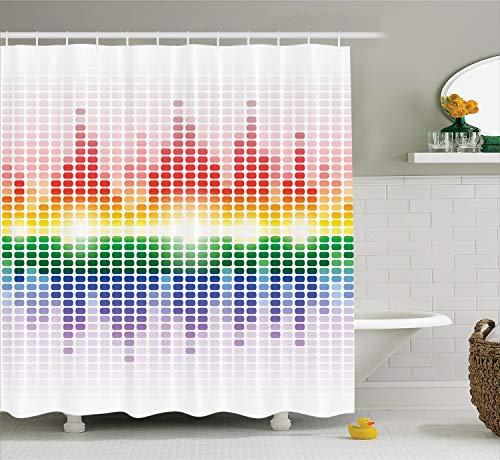 Ambesonne Music Shower Curtain, Rainbow Digital Style Equalizer Amplifier Recording Equipment Night Club Disco Theme, Cloth Fabric Bathroom Decor Set with Hooks, 84