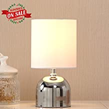"""Glanzhaus Great Value Mini Style Chrome Finish Base White Lampshape Living Room Bedroom 11""""H Beside Small Table Lamp,Fantastic Gift Suitable for Girls Women."""