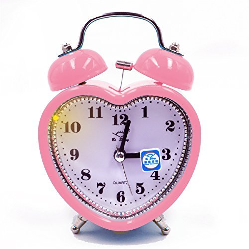 Monique Desk & Shelf Nightlight Alarm Clock Home Travel Twin Bell Silent Quartz Alarm Clock Heart Pink - Heart Shaped Clock