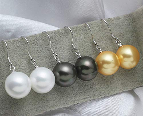 3Pairs 12MM White Black Yellow South Sea Shell Pearl Silver Hook Dangle Earrings -