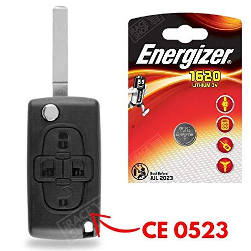 Plip Clé Boitier/Coque de Télécommande Peugeot 1007 807 ✚ Pile CR1620 Energizer - Kit iRace Keys®