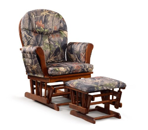 Artiva USA Home Deluxe Camouflage Fabric Cushion Cherry Wood Glider Chair and Ottoman Set (Chair Replacement Gliding Rocking Cushions)