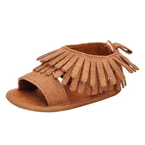 MK MATT KEELY Baby Girls Summer Shoes Infant Non-Slip Tassel Sandals Khaki (Suede Slip Sandals)