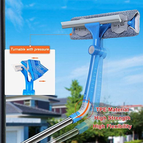 IKU Professional Long Extendable 3-in-1 Window Squeegee Cleaner with Soft Detachable Microfiber Cloth & 180°Rotatable Squeegee Tool & Groove Brush for Windows/ Mirror/ Glass Door/ Car/Ceiling(Blue) by IKU (Image #5)