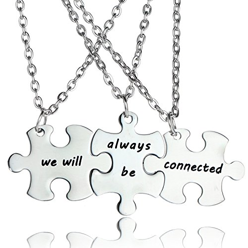 YeeQin 3PCS We Will Always Be Connected Keychain Set, Necklace Set, Best Friends Jewelry, Friendship Gift for Sisters Friends (Necklaces Set)