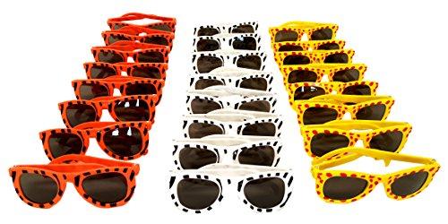 (Playscene Party Glasses, 80's Shutter Glasses, 80's Dark Lens Glasses, Animal Print Glasses (1 Dozen, Animal Print))