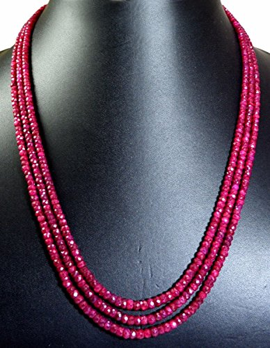 (2/3/4/5/7 Multi Strings Natural Red Ruby 3mm Faceted Beads Gemstone Strands Necklace (Red-3 Strands))