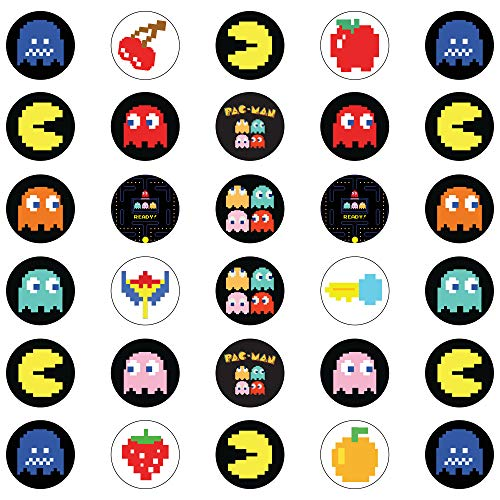 30 x Edible Cupcake Toppers - PacMan Retro Themed Collection of Edible Cake Decorations | Uncut Edible Prints on Wafer Sheet -