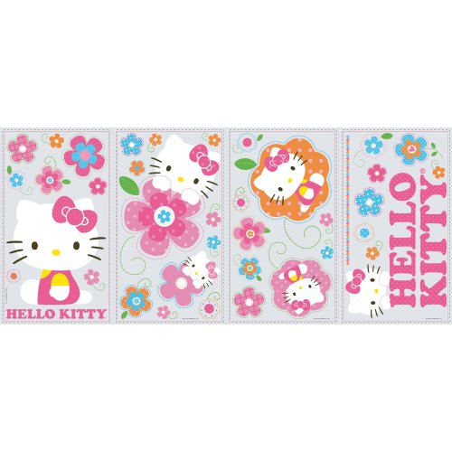 RoomMates RMK2173SCS Hello Kitty Floral Boutique Peel and Stick Wall Decals