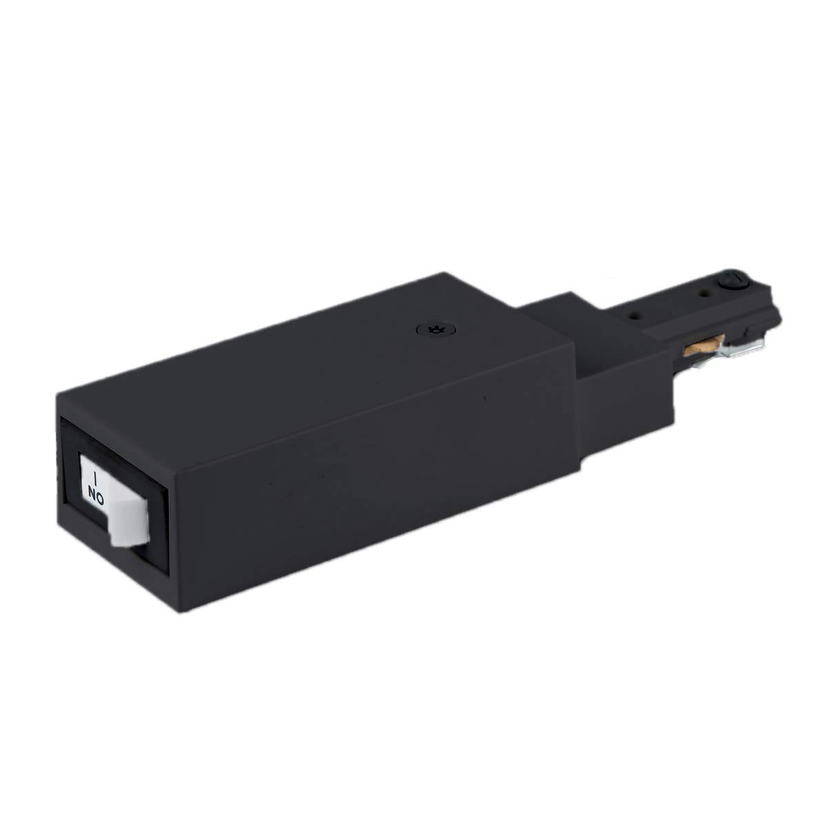 WAC Lighting THL-HLES-10A-BK H Slim Live End Connector Current Limiter with Switch, Track Accessory