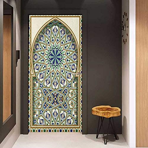 Onefzc Glass Door Sticker Decals Turkish Pattern Arabic Arch and Frame with Geometric Details Stars and Triangles Door Mural Free Sticker W32 x H80 Caramel Green Indigo