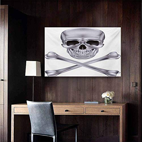 duommhome Grey Simulation Oil Painting Vivid Skull and Crossed Bones Dangerous Scary Dead Skeleton Evil Face Halloween Theme Decorative Painted Sofa Background Wall 47