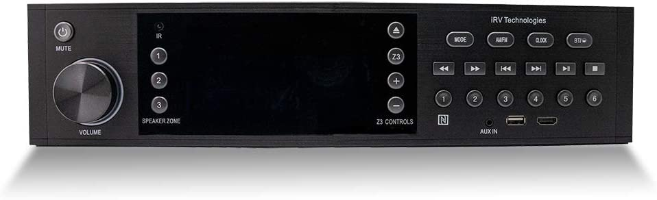 iRV Technology iRV68 AM/FM/CD/DVD/MP3/MP4/HDMI in&Out w/ARC/Digital 5.1/Surround Sound/Bluetooth/NFC,3 Zone Independent Wall Mount RV Radio Stereo w/APP Control, USB Play & Charge Both Android/Apple