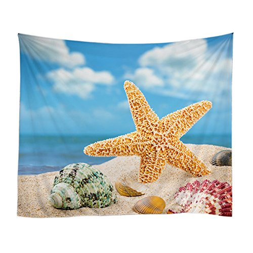 Messagee Starfish and Shells Summer Theme Tapestry Wall Hanging Mandala Bohemian Indian Hippie Wall (Hippie Theme)