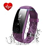 Fitness Tracker with Heart Rate Monitor - Runme Activity Tracker Smart Watch with Sleep Monitor - Waterproof Walking Pedometer Band with Call SMS Remind for iOS Android Smartphone (Purple)