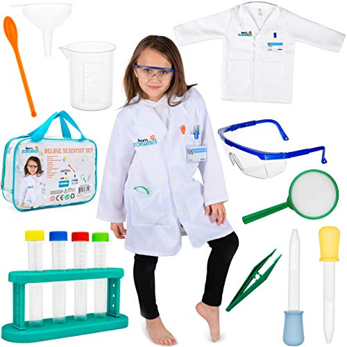 (Born Toys 15 Piece Lab Coat for Kids Witch Science kit and lab Goggles Full Scientist Costume for Kids Ages 5-10 for Real Kids Scientist Experiments or Dress up and)