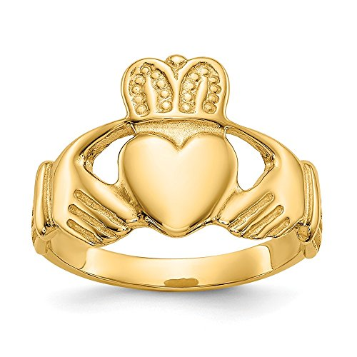 14k Yellow Gold Solid Back Polished Ladies Claddagh Ring - Size 6