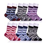 NOVCO Children's Boys Girls Winter Warm Wool Socks Kids Soft Thick Crew Socks (6 Pairs snowflake, 8-12 years)