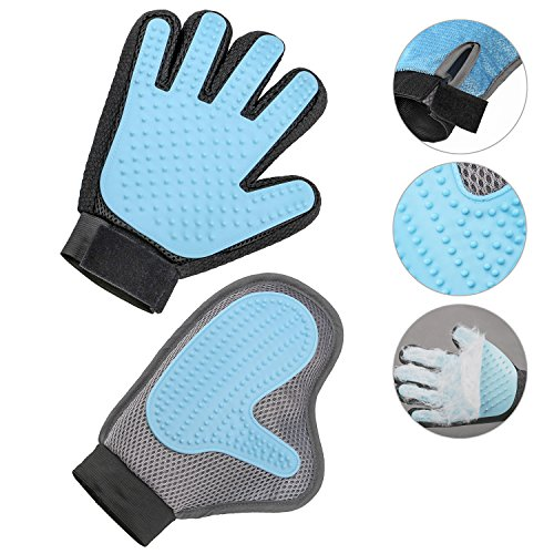 Pet Dog Grooming Glove – 2 in 1 Efficient Gentle Deshedding Bursh Golve-Furniture Pet Hair Remover Mitt Perfect for Long Short Hair Dogs Cats – 1 Pair (Blue)