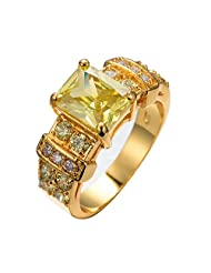 CHIC Men 10KT Yellow Gold Filled Finger Rings Topaz Geometric Retro Wedding Rings Bague Homme