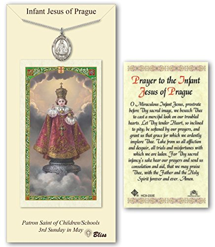 Pewter Infant of Prague Medal with Laminated Holy Prayer Card