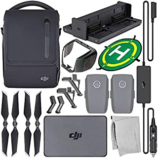 DJI Mavic 2 Fly More Kit with Starter Accessory Bundle – Includes: Landing Gear Extensions/Stabilizers + Landing Pad + Lens Hood + Microfiber Cleaning Cloth