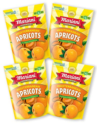 Mariani - Dried Mediterranean Apricots - 6oz (Pack of 4) - Gluten Free, Vegan, Resealable Bag - Healthy Snack for Kids & - Apricot Apricots Dried