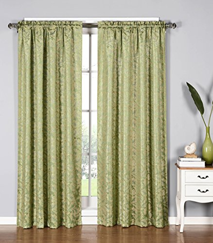 Window Elements Dawson Shimmering Leaf Extra Wide 54 x 84 in. Rod Pocket Curtain Panel, Sage (Window Covering Ideas)