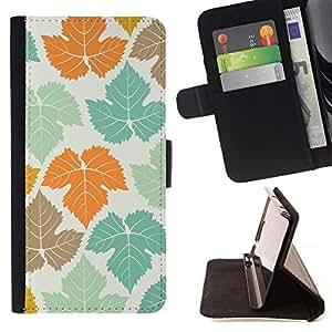 ForSamsung Galaxy S3 MINI i8190 (NOT S3) Case , Pastel trullo anaranjado arce Canadá- la tarjeta de Crédito Slots PU Funda de cuero Monedero caso cubierta de piel