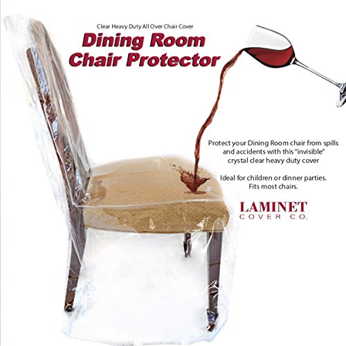 LAMINET Heavy-Duty Crystal-Clear Dining Chair Protectors – Protects Your Dining Room Chair ALL-OVER from Dust, Dirt, Spills, Pet Hair and Dander, Paws and Claws! SET OF 4 – 41″BH x 20″FH x 20″W x 22″D