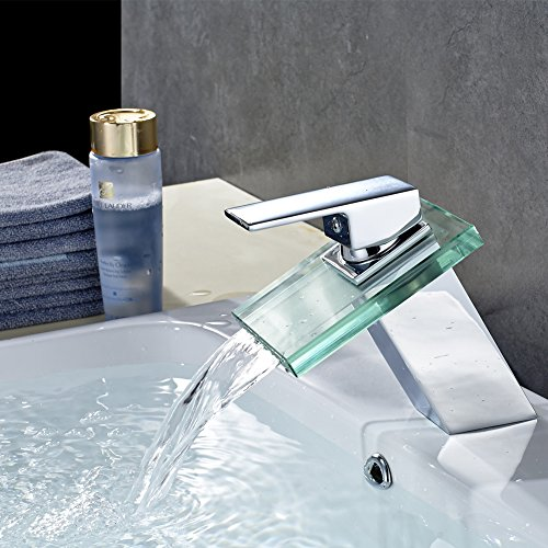 ROVATE Bathroom Glass Sink Faucet Brass single Handle Single Hole Waterfall Mixe Faucet/Tap Deck Mounted on Sink , Polished Chrome