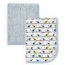 Hudson Baby 2 Piece Interlock Cotton Swaddle Blanket, Blue Birds