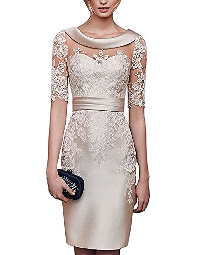 LBXX Champagne Short Wedding Party Mother of the Bride Dresses Elegant Women Party Gowns