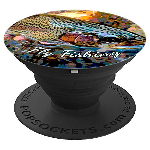 - Fly Fishing Gear Rainbow Trout Phone Cover Gift Rod Net Pop - PopSockets Grip and Stand for Phones and Tablets