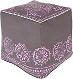 Surya KSPF-022 Kate Spain 100-Percent Cotton Pouf, 18-Inch by 18-Inch by 18-Inch, Charcoal/Orchid/Lavender