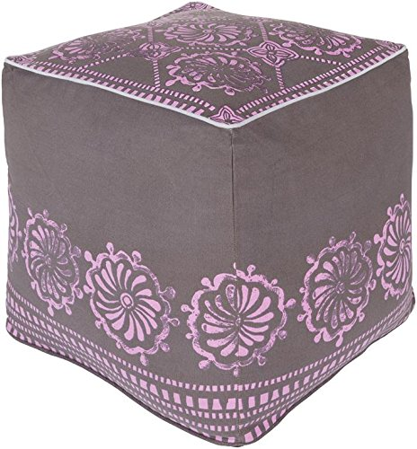 Surya KSPF-022 Kate Spain 100-Percent Cotton Pouf, 18-Inch by 18-Inch by 18-Inch, Charcoal/Orchid/Lavender by Surya