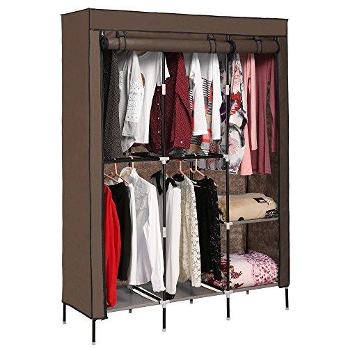 Portable Canvas Clothes Wardrobe, Heavy Duty 2 Doors Large Capacity Double Rod Closet Storage Organizer, 6 Shelves and Shoe Shelf (COFFEE)