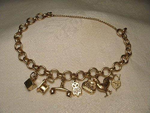 Antique Estate 14K Pink Rose Gold Diamond Miniature Charm Bracelet