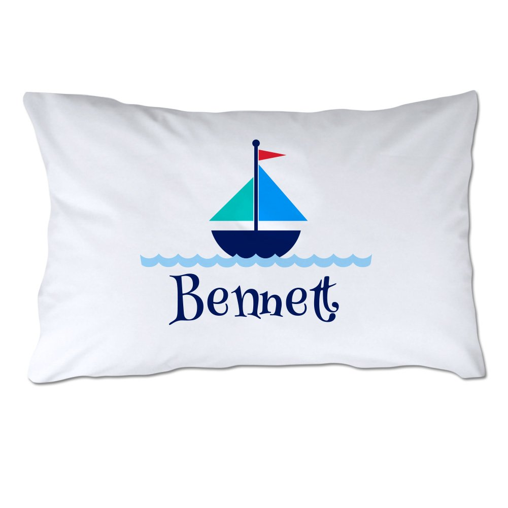 Personalized Toddler Size Sailboat Pillowcase with Pillow Included