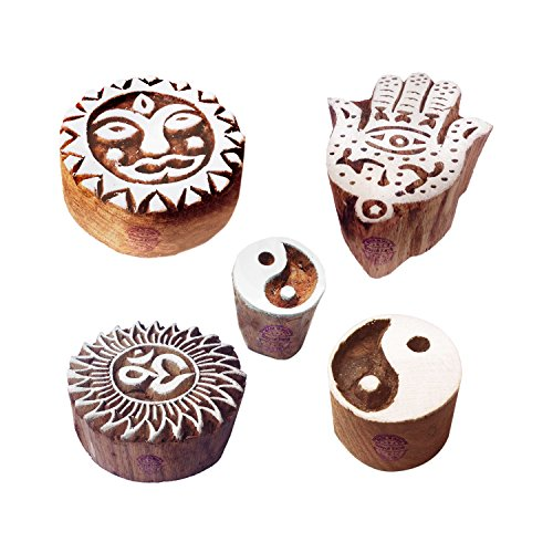 (Creative Pattern Yin Yang and Religious Wood Print Blocks (Set of 5))