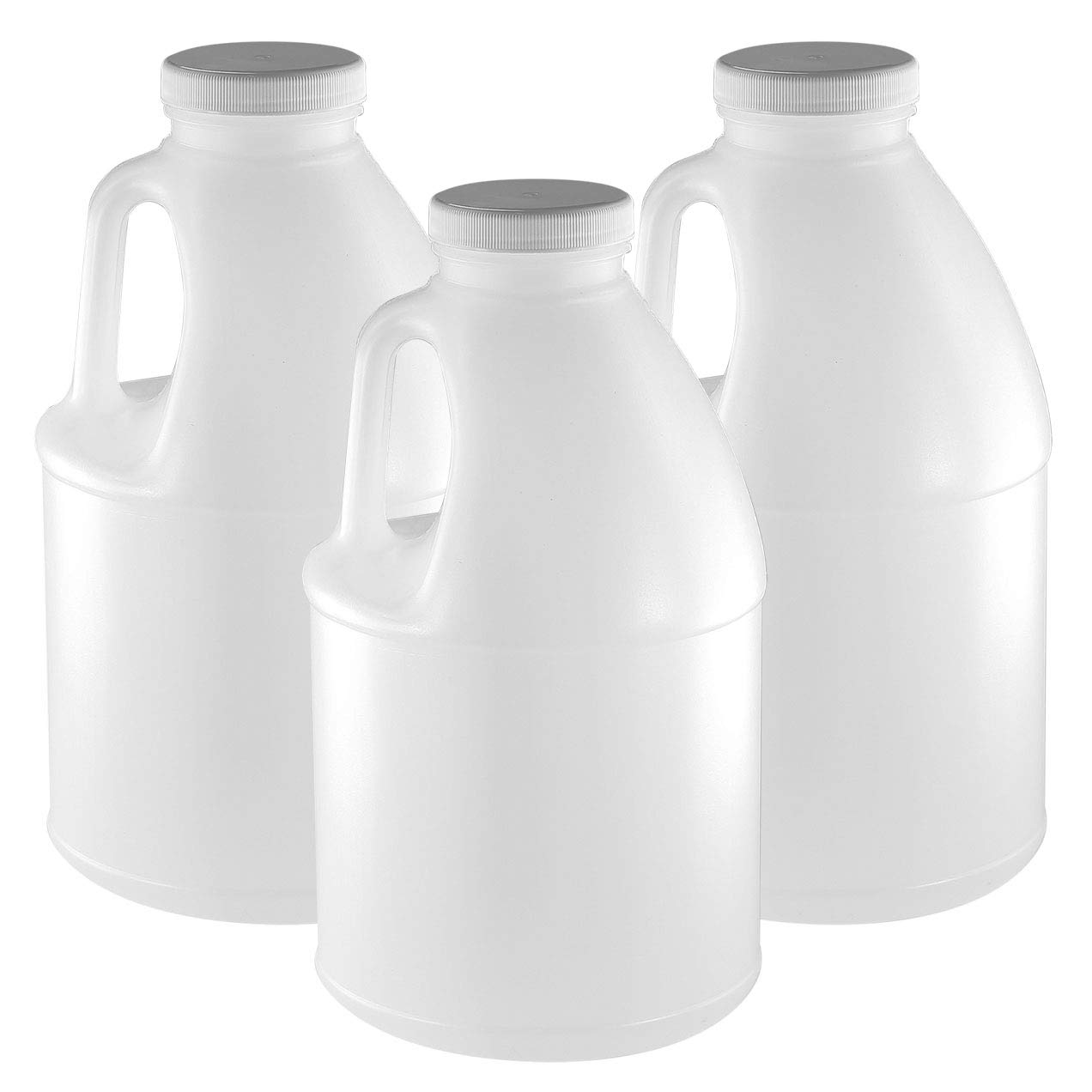 Pinnacle Mercantile 1/2 -Gallon Plastic Jug (3 -Pack) Reusable, Food-Safe, BPA Free | Heavy-Duty HDPE Containers for Water, Sauces, Soaps, Honey (6 lb.) Detergents, Liquids 64 Ounces| Screw-On Cap