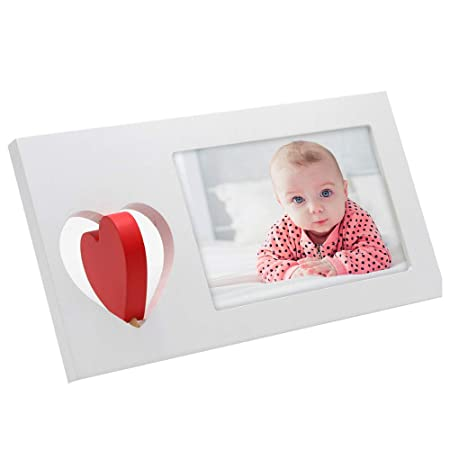 SUMGAR Wooden Picture Frame for Desk 4x6 with White Red Love Heart ...