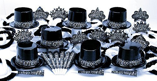 New Year's Eve Party Kit for 25 People 13 Top Hats 12 Tiaras 25 Horns 12 Poly Hawaiian Leis